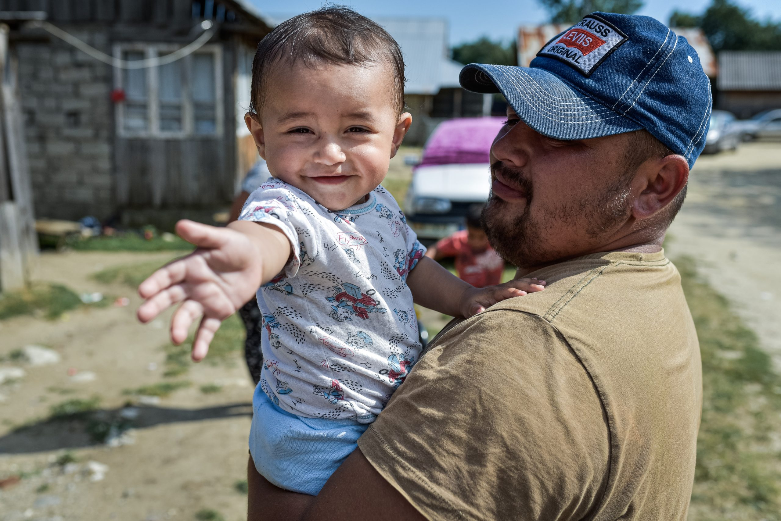 Vaideeni, Romania: Stefan and his father, who built their home as part of Big Build 2019 in Romania.